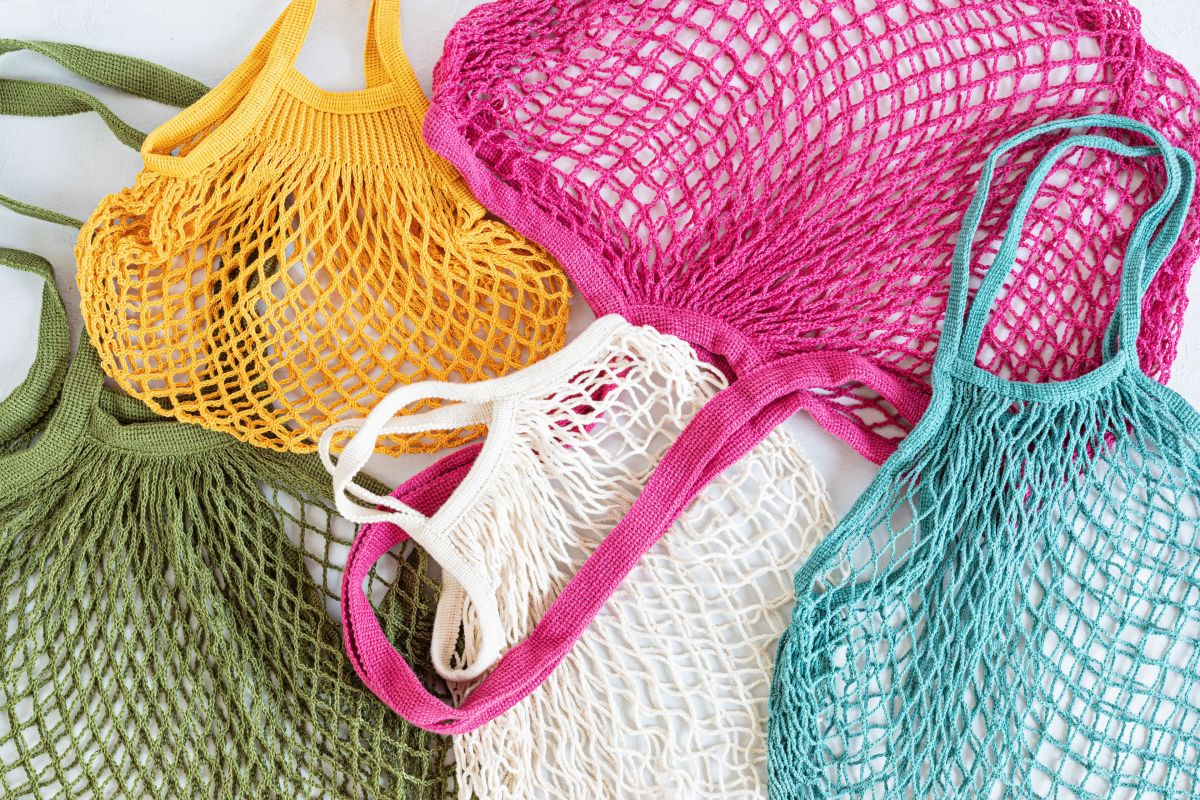 assortiment of reusable cotton mesh bags or shoppe B8YC4YP